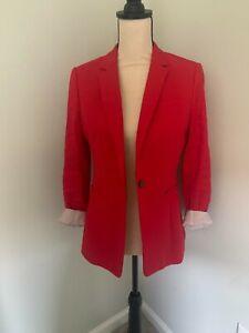 Banana Republic Women's Red Long & Lean Blazer Size Petite 6