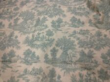 Antique Vintage Style French Toile de Jouy Cotton Fabric Isabella Green Romantic