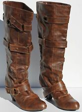 Carlos By Carlos Santana Womens Knee High Buckle Brown Boots Size 9M