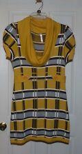 Tricot Joli Sweater Tunic Dress Yellow Brown White Cowl Neck Cap Sleeve Medium