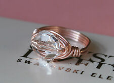 Rose Gold Cosmic Clear Crystal Wrap Ring made with Swarovski Crystal Elements