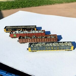 LOT of FOUR Custom Weathered with Loads HO Scale Gonoldas Walthers & Athearn