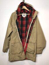 Woolrich Men's Sz L Long Parka Coat Hooded Jacket Wool Lining Beige Nylon EUC