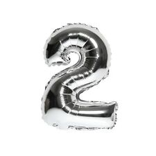 """40"""" Metallic Silver Glossy Two Year Old Birthday Party Number 2 Float Balloon US"""