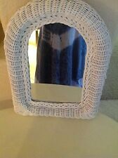 VINTAGE WHITE WICKER WALL MIRROR ~BOHO~SHABBY CHIC~16.5 x 13""