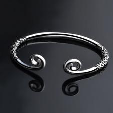 Fashion Women 925 Silver Hoop Sculpture Cuff Bangle Bracelet Jewelry Traditional