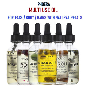 PHOERA Multi-Use Oil Anti-Aging For Face Body Hair Nail 100% Natural With Petals