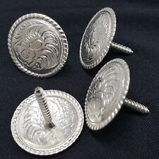 "4 Pack Western Saddle Bright Silver Concho 1-1/2"" Screw Back"