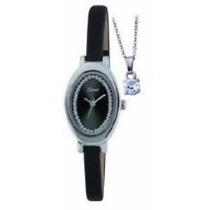 Spirit Ladies Black Strap Watch & Pendant Gift Set ASPL41