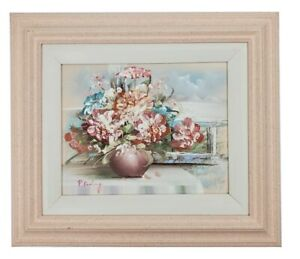 "Personal Preference Inc Original Signed Art Floral Painting 10""x 8"" Wood Framed"