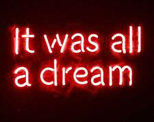 New It Was All A Dream Red Neon Light Sign Lamp Beer Pub Acrylic 14""