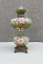 Vintage Hand Painted Flowers Gone With the Wind Hurricane Table Lamp