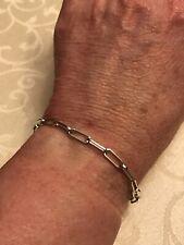 """Women's Paperclip Bracelet Sterling Silver 7.75"""" Italian Made"""
