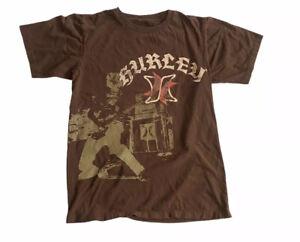 Hurley Graphic Tee T-Shirt Boys S 8 Brown Guitar Logo Rock Short Sleeve