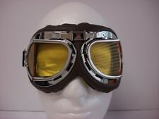 WWII RAF Aviator Pilot Scooter Motorcycle Cruiser Biker GOGGLES Vespa Dark Brown
