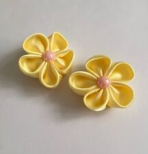 Pair of Yellow spring flower Hair Clips/girls Accessories/flower