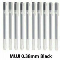 MUJI Gel Ink Ball Point Pen 0.38mm Black Ballpoint 10 pcs <NEW> JAPAN