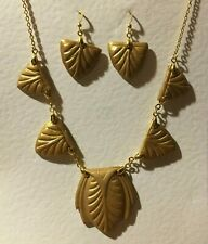 EGYPTIAN REVIVAL PEARLY YELLOW GOLD ART DECO HAND CRAFTED NECKLACE EARRINGS SET