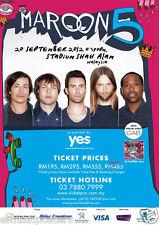 Maroon 5 / The Cab 2011 Kuala Lumpur, Malaysia Concert Tour Poster - Adam Levine