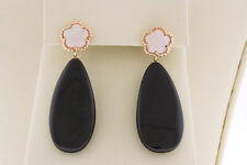 14K Rose Gold Pink Shell Clover Hook & Briolette Black Onyx Drop/Dangle Earrings