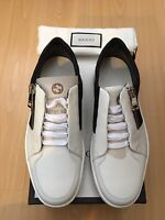 NEW GUCCI MENS SHOES WHITE BLACK LEATHER TRAINERS LOW TOPS UK 8.5 42.5