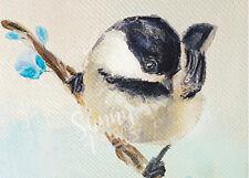 ACEO Print oil painting Chickadee Bird wildlife nature Flowers animal Miniature