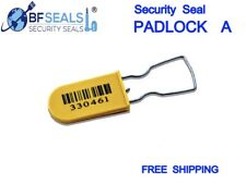 Plastic Security Seals Padlock A Numbered Barcode 100 Pcs Yellow Color