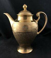 "🟢 Osborne China Pickard Hand Painted 22K Gold ROSE & DAISY w/ LOTUS 11"" Teapot"