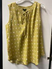 Ann Taylor Chiffon Tie V Neck Sleeveless Blouse Womens Size S Yellow