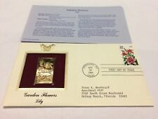 Garden Flowers Lily Stamp, April 28, 1994 FDC and 22kt gold replica