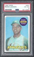 1969 Topps Reggie Jackson Vintage Rookie Card RC 260 A's VG-EX PSA 4 LOOKS NICER