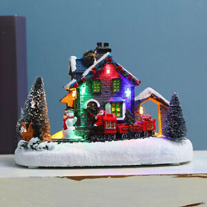 Christmas house village lighting LED accent snowman cabin indoor table