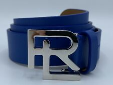$400 Ralph Lauren Purple Label Royal Blue Men's Leather Belt 34 Made in Italy