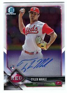 2018 Bowman Chrome Auto Tyler Mahle Rookie Card RC Cincinnati Reds