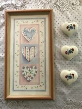 Home Interiors Heart Picture with 3 Matching Ceramic Hearts and Poem Card