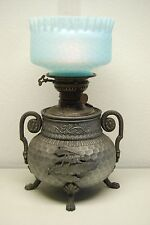 ANTIQUE AESTHETIC MOVEMENT VICTORIAN ARTS & CRAFTS OIL KEROSENE GLASS LAMP SHADE