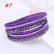 Fashion Leather Wrap Wristband Charm Crystal Rhinestone Cuff Bracelet Bangle2017 #7