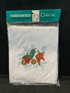 Dora May Embroidered BLENDER PERCOLATOR Cover White Vegetables #819 15 x 9 x 6