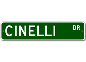 Cinelli Drive Street Sign Personalized Custom Last Name Metal Sign - Aluminum