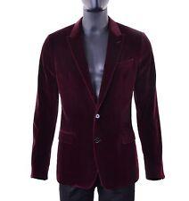 DOLCE & GABBANA TAORMINA Velvet Velour Blazer Jacket Tuxedo Bordeaux Red 05253