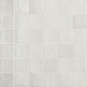 ZELLIGE GESSO 10 X 10cm GLOSSY WALL TILES IN PLASTER WHITE -PACK OF 50 TILES