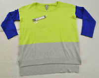 women's JC Penny light weight sweater gray blue lime size XS 3/4 sleeve cotton
