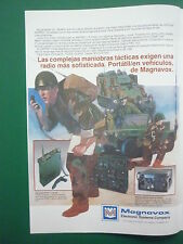 1/1986 PUB MAGNAVOX RADIO PORTATIL VHF/UHF AN/PR-113 AN/VCR-83 JEEP SPANISH AD