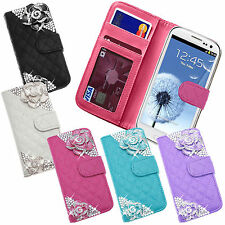 CRYSTAL 2 ROSE FLOWER LEATHER QUILTED FLIP PURSE CREDIT CARD WALLET CASE COVER