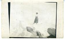 1915 Rppc Postcard of Woman on Overhang Rock in Yosemite
