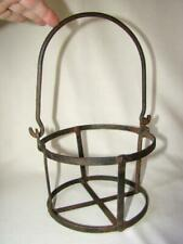 Sturdy Soldered Metal Antique/Vintage Open Plant Hanging Basket, Swing Handle