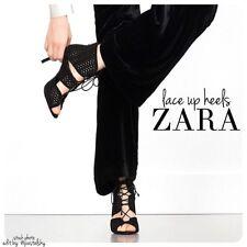 ZARA Cut Work High Heeled Sandal Black Lace Up Open Toe Size US 6 NIB