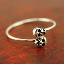 925 Sterling Silver THIN 0.7mm Skulls Skeletons Pinkie Midi Ring size 5.5 A3001