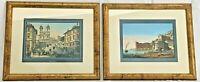 Coppia di stampe Piazza di Spagna Roma e Pal. Donn'Anna Napoli con cornici (G66)