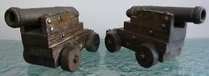 Vintage Pair of Ornamental Cannons Bronze? Brass on Wooden Base with Wheels